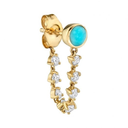 The Last Line TURQUOISE STUD AND DIAMOND CHAIN EARRING / single earrings - flipped