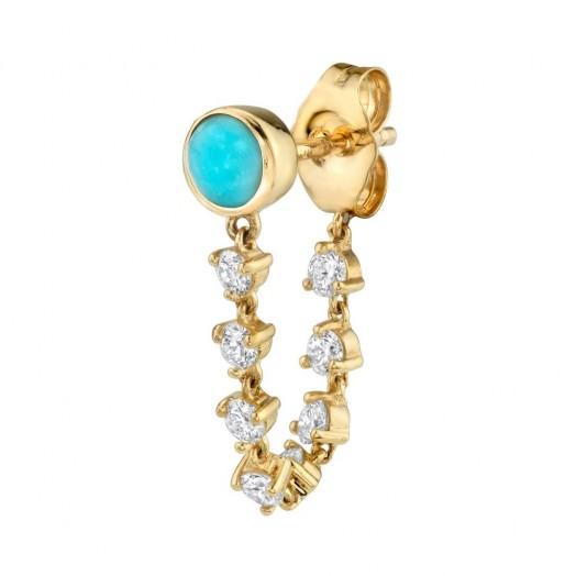 The Last Line TURQUOISE STUD AND DIAMOND CHAIN EARRING / single earrings