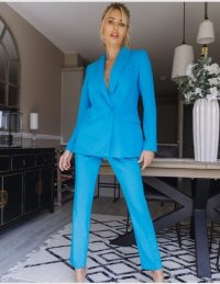 FOREVER UNIQUE Turquoise Two-Piece Suit – bright blue jacket and trouser suits