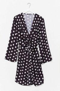 Twist It Plus Polka Dot Mini Dress Black