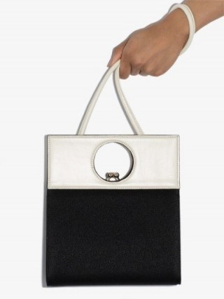 USISI Black And White Eddie Leather Shoulder Bag | contemporary mono bags - flipped