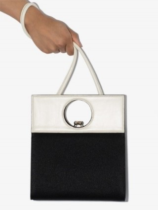 USISI Black And White Eddie Leather Shoulder Bag | contemporary mono bags