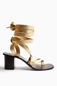 Topshop VANITY Gold Leather Wrap Block Sandals | luxe style metallic sandal