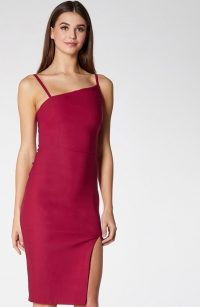 VESPER Brooklyn Wine asymmetric neckline midi dress