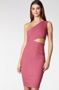 VESPER Cleo Dusky Rose Midi Dress ~ one shoulder cut-out dresses