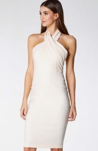 Vesper Dallas Latte Halter Neck Pencil Dress