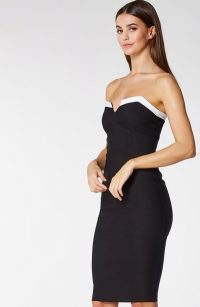 Vesper Darlin Monochrome Strapless Pencil Dress