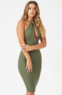 Vesper Portia Khaki Twist front Bodycon Pencil Dress