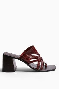 Topshop VICE Burgundy Cut Out Mule Sandals | block heel mules