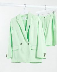 Weekday Yoko co-ord double breasted linen effect blazer in bright green – summer jacket and shorts set