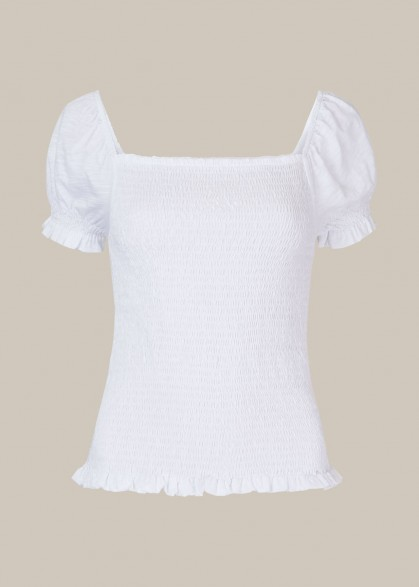 WHISTLES BEX ROUCHED FRILL TOP WHITE / essential summer tops