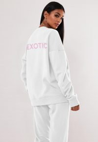 MISSGUIDED white exotic tiger king graphic sweatshirt – slogan sweat top