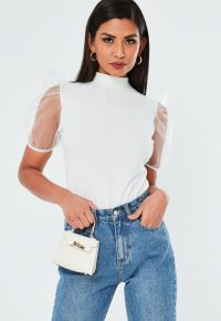 MISSGUIDED white high neck organza short puff sleeve top | sheer sleeve tops