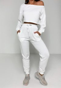 MISSGUIDED white off the shoulder sweatshirt and joggers co ord set