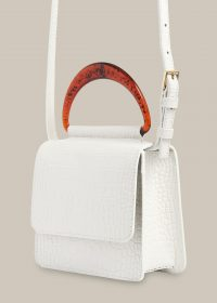 WHISTLES ROSINA MINI RESIN HANDLE BAG / white crossbody bags