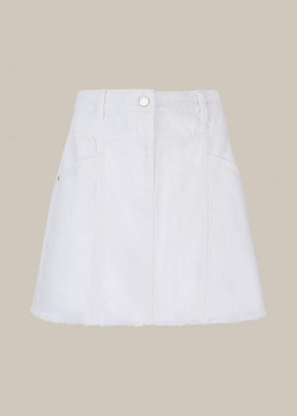 WHISTLES SEAM DETAIL FRAYED DENIM SKIRT WHITE / essential summer A-line