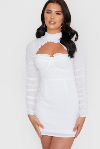 IN THE STYLE WHITE TEXTURED CUTOUT TIE BACK DRESS