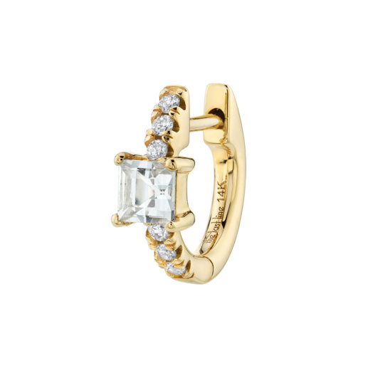 The Last Line WHITE TOPAZ PRINCESS SOLITAIRE PAVÉ HUGGIE / small single luxe hoop earring