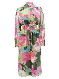 FENDI Windflower floral-print crinckled silk shirt dress | vintage look fabrics