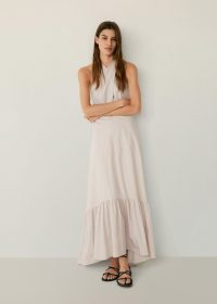 Mango ELIO Wraped neck dress | light pink maxi