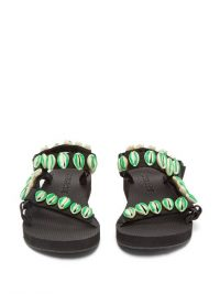 ARIZONA LOVE X Timeless Pearly shell-embellished sandals in black and green | shells | inspired by the ocean
