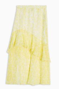 Topshop Yellow Chiffon High Low Ruffle Skirt
