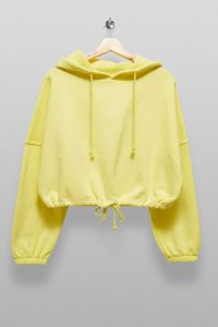 TOPSHOP Yellow Draw Cord Hoodie
