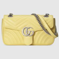 GUCCI GG Marmont small shoulder bag in pastel yellow leather