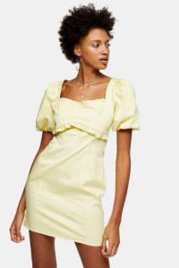 Topshop Yellow Poplin Tea Dress | puff sleeve summer frock