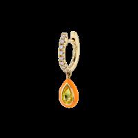 The Last Line YELLOW SAPPHIRE AND ORANGE ENAMEL TEARDROP DIAMOND HUGGIE