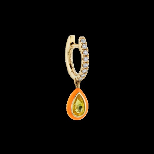 The Last Line YELLOW SAPPHIRE AND ORANGE ENAMEL TEARDROP DIAMOND HUGGIE - flipped