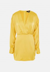 MISSGUIDED yellow satin plunge puff sleeve mini dress