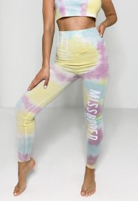 yellow tie dye missguided corset detail leggings