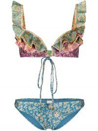 ZIMMERMANN colour-block floral-print bikini / ruffled mixed print bikinis