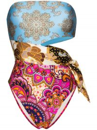 ZIMMERMANN Fiesta printed bandeau swimsuit / multi-coloured cut-out swimsuits