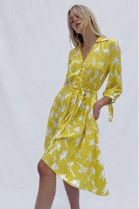 FRENCH CONNECTION ABITA DRAPE LONG SLEEVE BELTED DRESS in POP YELLOW MULTI ~ flower print dresses