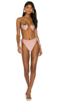 ADRIANA DEGREAS Strawberry High Leg Bikini Set Rose / print bikinis