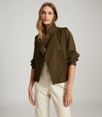 REISS ALANA UTILITY JACKET KHAKI / casual green jackets