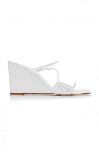 Christopher Esber Alexa Strappy Leather Wedge Sandals ~ white wedges