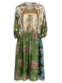 BIYAN Algo embroidered floral-print silk-blend dress ~ multi-prints