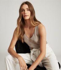 REISS ALICE METALLIC KNITTED TOP MINK ~ luxe vest tops