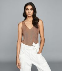 Reiss ALICE METALLIC KNITTED TOP ROSE GOLD ~ effortless summer glamour