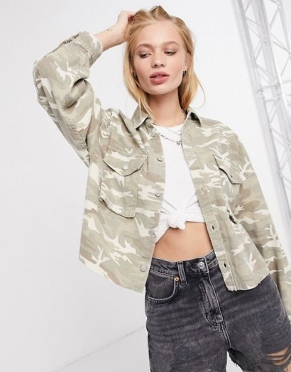 AllSaints sol camo jacket in camouflage cream - flipped