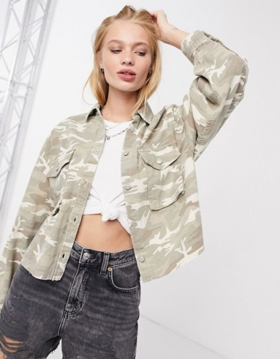 AllSaints sol camo jacket in camouflage cream