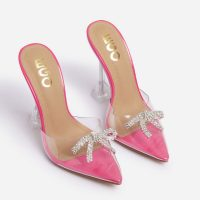 EGO All-That Diamante Bow Detail Clear Perspex Pyramid Heel Mule In Pink Patent