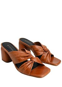 ALOHAS Greta heeled leather mules / tan knot-front sandals
