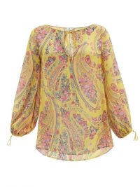 ETRO Altai paisley-print silk-georgette blouse ~ yellow floaty summer tops ~ sheer fabrics