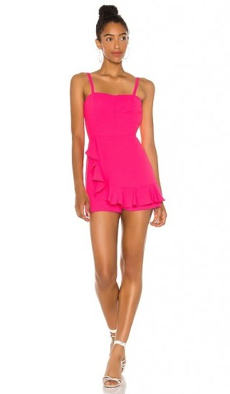 Amanda Uprichard Trudy Romper Pink Lacquer ~ ruffled rompers ~ vibrant playsuits - flipped