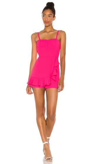 Amanda Uprichard Trudy Romper Pink Lacquer ~ ruffled rompers ~ vibrant playsuits