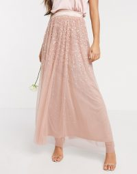 Amelia Rose ombre sequin maxi tulle skirt in rose